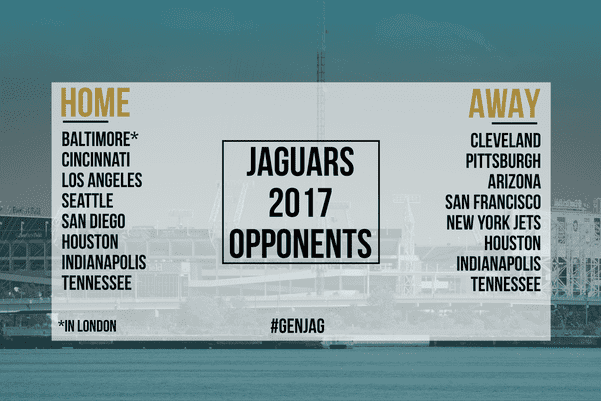the jaguars 2017 home and away opponents have been decided